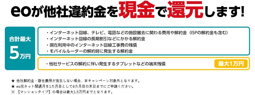 eo光他社解約違約金を還元