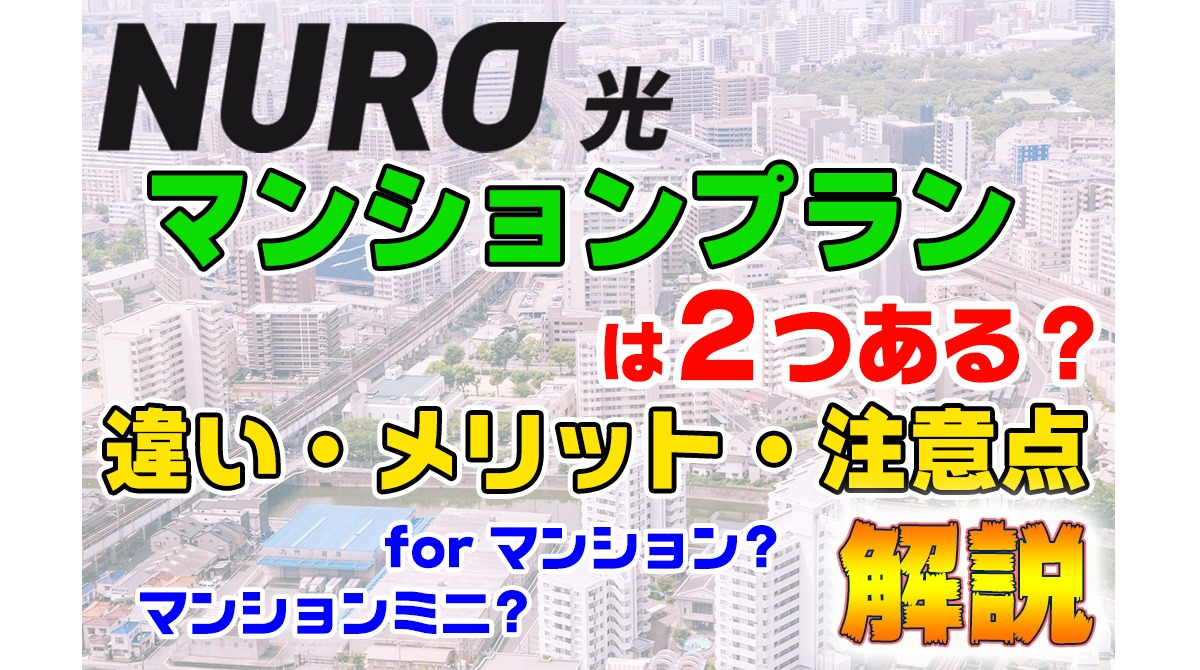 nuro光のマンションタイプは2つ?